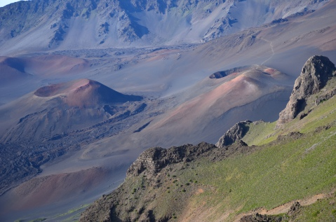 Haleakala National Park, 2012. The cinder cone on the left is called Kamoali'i; on the right is Ka Lu'u o Ka 'O'o (Plunge of the digging stick).