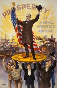 1900 reelection poster celebrates McKinley standing tall on the gold standard with support from soldiers, sailors, businessmen, factory workers and professionals.