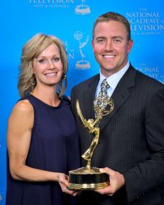 Allison Herbstreit with her husband Kirk at the 2011 Emmys ... Allison was an Ohio State cheerleader; Kirk was the quarterback.