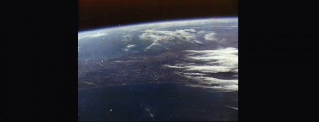 Photo of the Earth taken by John Glenn with a 35-millimeter Ansco Autoset camera he had purchased just before liftoff, seen during Mercury Atlas 6 (Friendship 7) orbital flight on Feb. 20, 1962. (NASA)