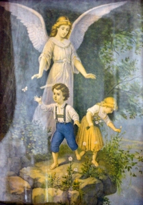 This graphic of a guardian angel (sorry for the poor photograph!) hung in the home of my Great Grandparents, James Woods and Matilda Rebecca Swartz Decker.  It now hangs in Mom's home.