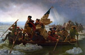 Washington Crossing the Delaware by Emanuel Leutze.  Monroe is shown holding the flag.