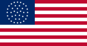 This alternative design of a 36-star flag could have been used from July 4, 1865 until July 3, 1867. A 37-star flag was introduced on July 4, 1867.