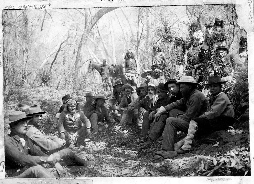 Geronimo with General George Crook in Council March 27, 1886