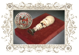 This is the ivory-handled seal Lincoln used to decorate the outside of envelopes for letters he sent.
