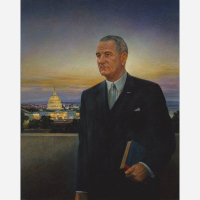 """This 1967 portrait by Peter Hurd was meant to be Johnson's official White House likeness. But that plan was quickly scrapped after Johnson declared it """"the ugliest thing I ever saw."""" Soon the pun was making the rounds in Washington that """"artists should be seen around the White House-but not Hurd."""" This ugly thing is now in the National Portrait Gallery."""