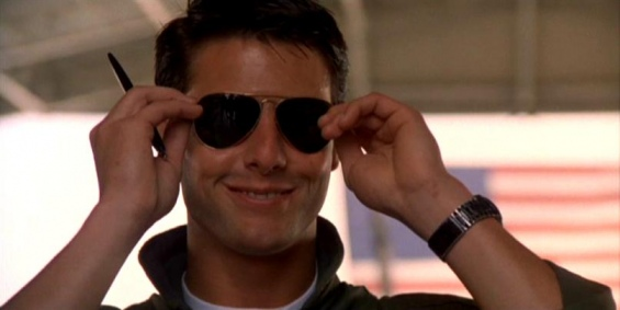 Sunglasses were just as important in Cruise's Top Gun.