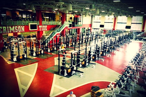 Here's the new weight room for Alabama's student athletes. Not the students - just the student athletes.