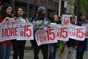 Chicago recently saw protests aimed at McDonald's and promoting a $15 minimum wage.