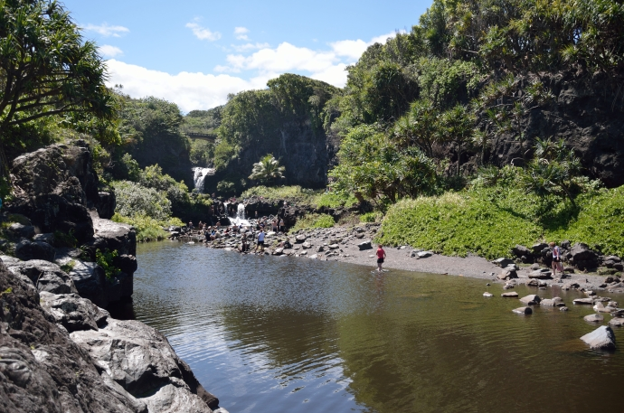 """The """"Seven Sacred Pools"""" (they aren't sacred, and there aren't seven), formed by the Palikea Stream. 2011."""