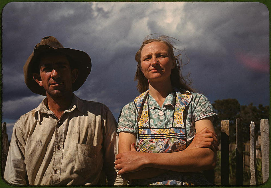 Faro and Doris Caudill, homesteaders. Pie Town, New Mexico, October 1940. Reproduction from color slide. Photo by Russell Lee. Prints and Photographs Division, Library of Congress