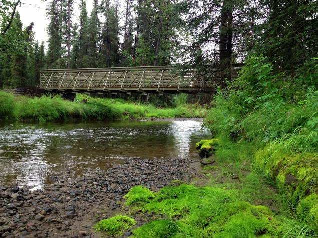Tanada Creek and the new bridge installed on the Copper Lake Trail in 2012. Great place to view sockeye on their spawning run! From the Park's Facebook page.