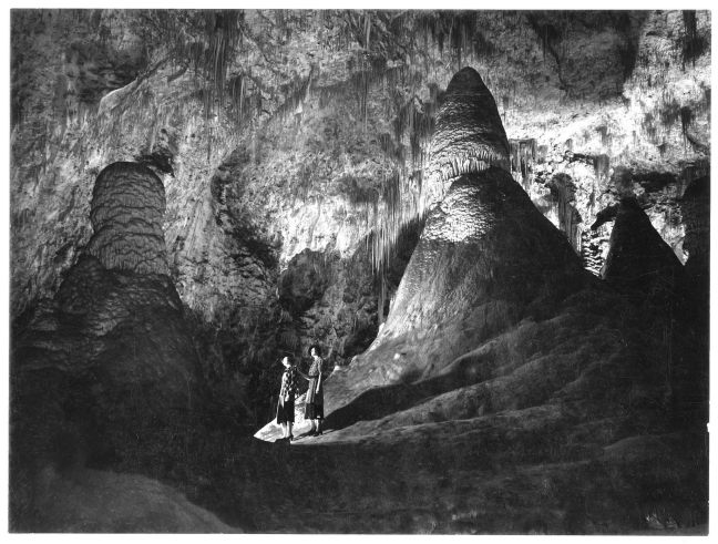 """Think cave photography is tough? Photographer Ansel Adams came to Carlsbad Cavern in 1936 and 1941, but he was never really happy with his work. Adams said that the cave was """"something that should not exist in relation to human beings. Something that is as remote as the galaxy, incomprehensible as a nightmare, and beautiful in spite of everything."""" From the Park's Facebook page."""