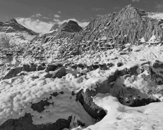 Badlands in black and white, in this employee photo of the week from Ken Thompson. This picture was taken after a snowstorm in January 2014. From the Park's Facebook page.