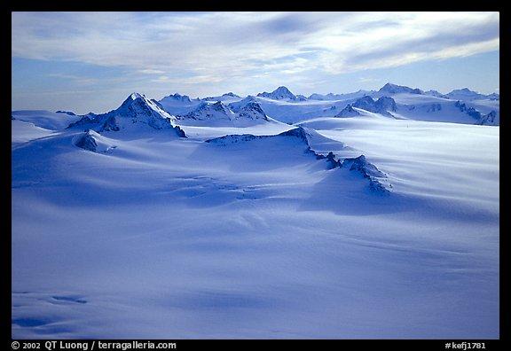Aerial view of Harding icefield and Nunataks. Photo courtesy of Terra Galleria. www.terragalleria.com.
