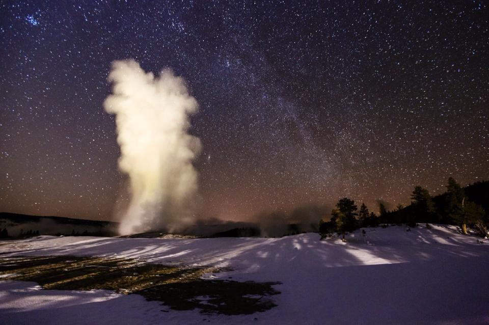 Old Faithful under a starlit sky.  Photo: Jacob W. Frank. Tweeted by the US Department of the Interior, 2/27/14.