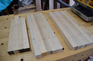Here are the smaller boards cut from the straightened board ... which will eventually bcome a cutting board very like the one used by the Pioneer Woman, Ree Drummond, on her TV show.