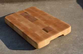 An end grain cheese board was made from the left over hard maple.