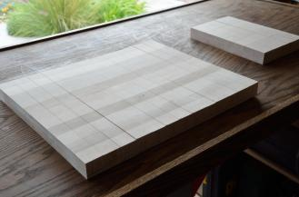 "Here's the cutting board after glue up # 1, and then slicing into 1-1/2"" strips"