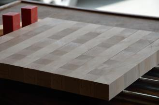 Glue-up # 2, where the strips are rotated into an end-grain cutting board.