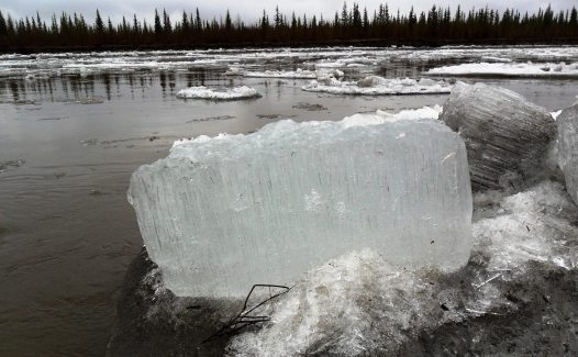 """Candle ice"" floats down the Koyukuk River during the spring thaw. From the Park's website."