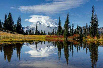 Reflections make for some of the most stunning images of Mount Rainier. Photo: JD Hascup. Tweeted by the US Department of the Interior, 10/19/13.