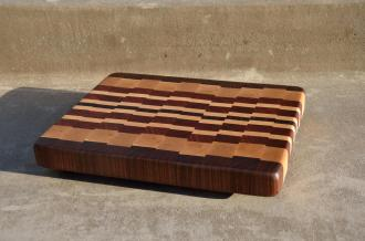 "# 54 Cutting Board, $85. 13-1/4"" x 11"" x 1-3/8"". End Grain. Walnut, Hard Maple & Jatoba."