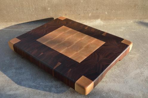 "# 52 Cutting Board, $85. 14-1/4"" x 11-5/8"" x 1-1/4"". End Grain. Hard Maple & Walnut."