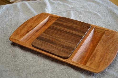 Cheese & Cracker Server # 91. Cherry with a Walnut insert. This design is one I won't make again ... I am going to tweak the design in 2015.