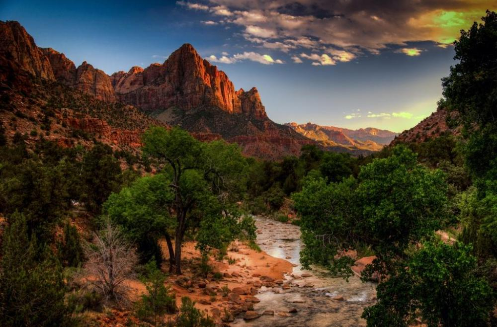 "Sunset at Zion National Park, with some ""enhancements,"" I would suggest. Tweeted by the US Department of the Interior, 9/22/14."