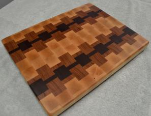 "# 65 Cutting Board, $125. Hard Maple, Cherry & Black Walnut. 16"" x 12-1/2"" x 1-1/4"". End Grain."
