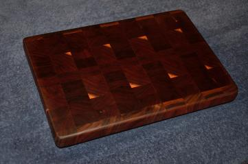 "# 21 Cutting Board, $50. End grain. Black walnut. 14"" x 10"" x 1-1/2""."