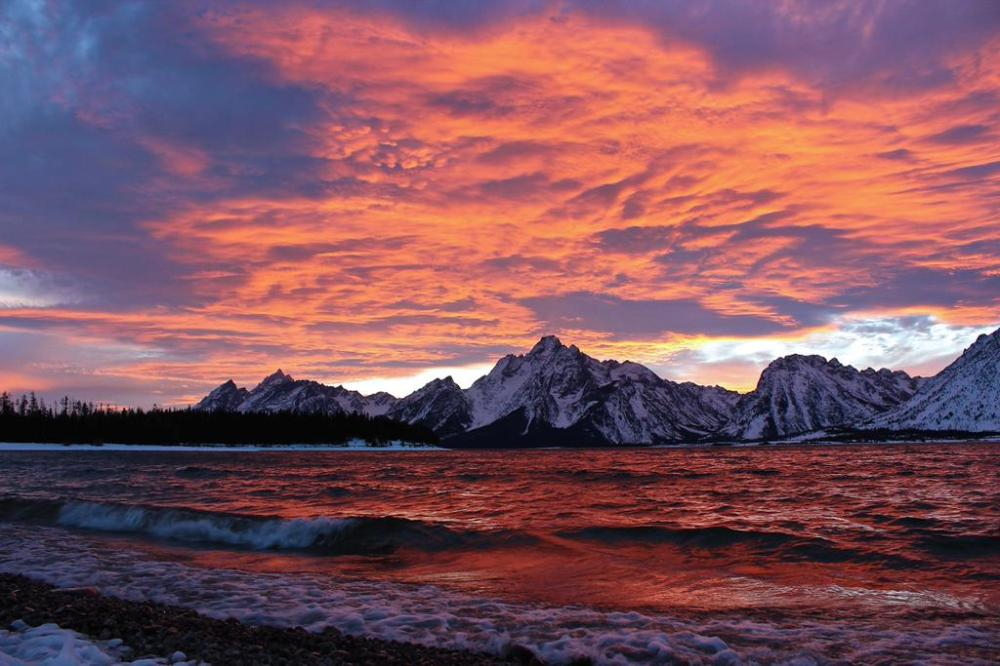 Sunsets in the Grand Teton National Park can be stunning, like this one over Colter Bay shot by Christina Adele Warburg. Tweeted by the US Department of the Interior 12/16/14.