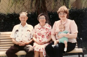 From Left, Robert Mowry (my father), Juanita Boring Mowry (his mother, who gave us the recipe), Velda Chucalo Mowry (today's cook) and Christopher Mowry (her son). 1983. This isn't a photo of 4 generations ... because I was taking the photo.