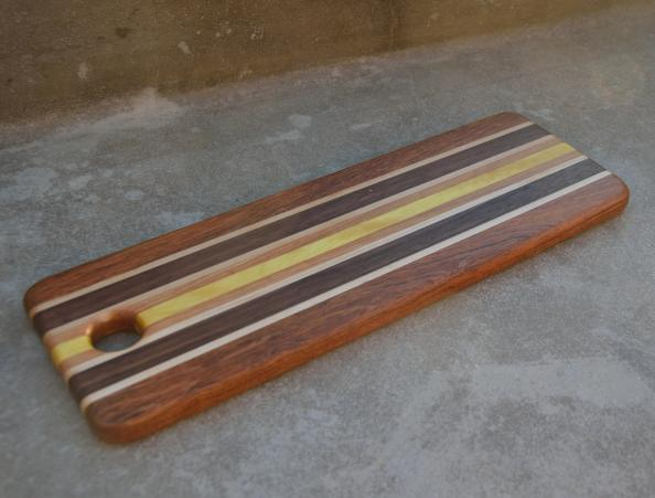 "Bread Board 15 - 02. Jatoba, Hard Maple, Walnut and Yellowheart. 5-1/2"" x 15"" x 3/4""."