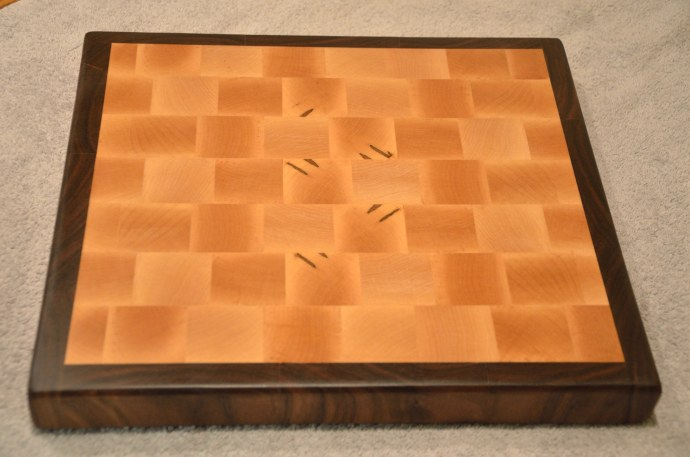 "Cutting Board # 14 - 66. Hard Maple and Black Walnut end grain. 13"" x 12"" x 1-1/2""."