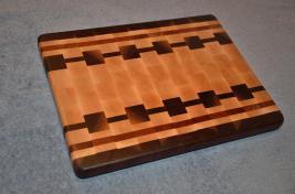 "Cutting Board # 15 - 010. Black Walnut, Hard Maple and Cherry end grain. 12"" x 16"" x 1-1/4""."