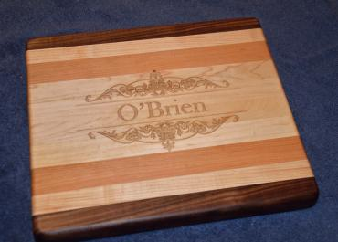 "Engraved # 15 - 02. Commissioned piece. Black Walnut, Hard Maple and Cherry. 8"" x 12"" x 1-1/8""."