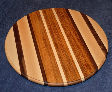 Hard Maple, Walnut and African Teak Lazy Susan.