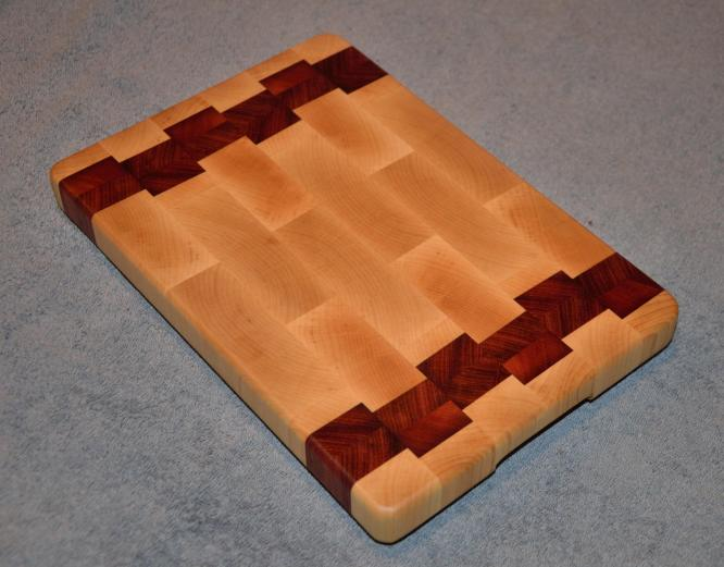 "Small Board # 15 - 019. Hard Maple and Jarrah. 8"" x 12"" x 1-1/4""."