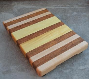 "Hard Maple, Jatoba and Yellowheart small board. 7"" x 12"" x 1-1/4""."