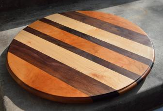 "Lazy Susan 15 - 09. 17"" diameter. Cherry, Black Walnut and Hard Maple."