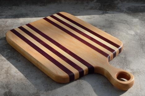 "Sous Chef # 15 - 05. Hard Maple & Purpleheart. 9"" x 15"" x 1""."