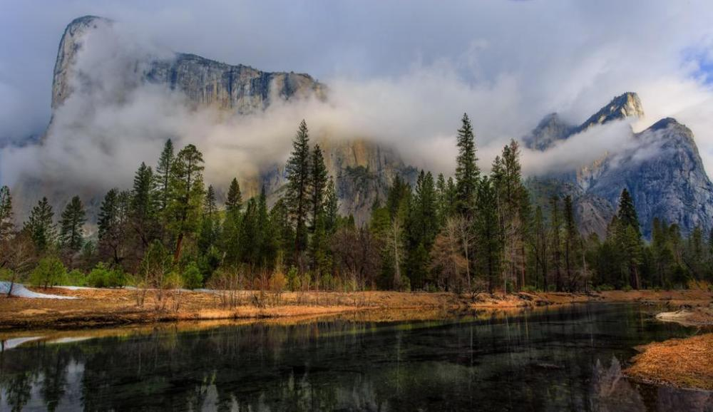 El Capitan peeks through the fog in this gorgeous picture. Yosemite National Park. Photo by Michael Bonocore. Tweeted by the US Department of the Interior 3/9/15.