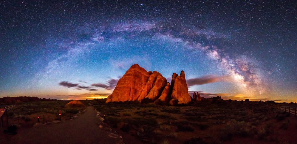 Stargazing is out of this world at Arches National Park in Utah. Photo of the ‪‎Milky Way‬ over one of the park's many rock formations by Manish Mamtani. Posted on Tumblr by the US Department of the Interior, 3/25/15.