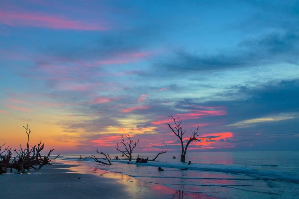 Sunset at South Carolina's Cape Romain National Wildlife Refuge. Photo by Ben Sumrell. Tweeted by the US Department of the Interior, 4/1/15.