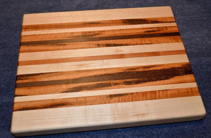 "Cutting Board # 15 - 023. Hard Maple, Cherry and Goncalo Alves, AKA Tigerwood. 12"" x 16"" x 1-1/2""."