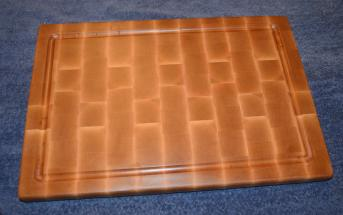"Cutting Board 15 - 025. Hard Maple, end grain, with a juice groove. 13"" x 18"" x 1""."