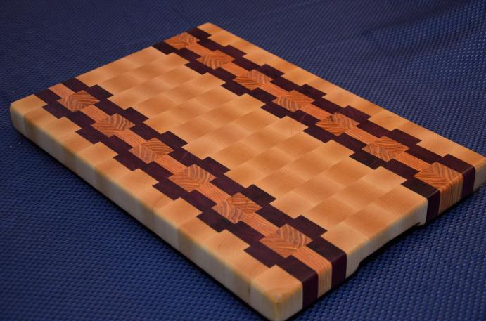 "Cutting Board # 15 - 033. Hard Maple, Purpleheart and Honey Locust End Grain. 14"" x 18"" x 1-1/2""."