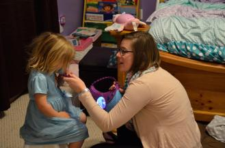 Miss P's first voice lesson from Auntie Brianna.